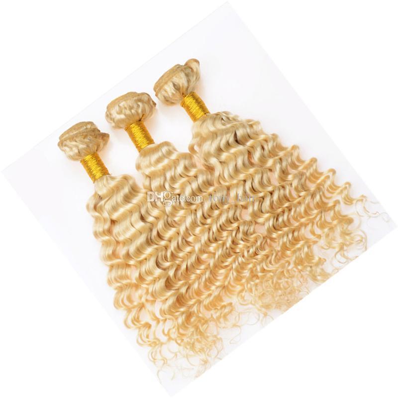 Blonde Brésilienne Vierge Cheveux 3 Bundles Tisse Couleur # 613 Vague Profonde Extensions Bleach Blond Cury Cheveux Trame 300G