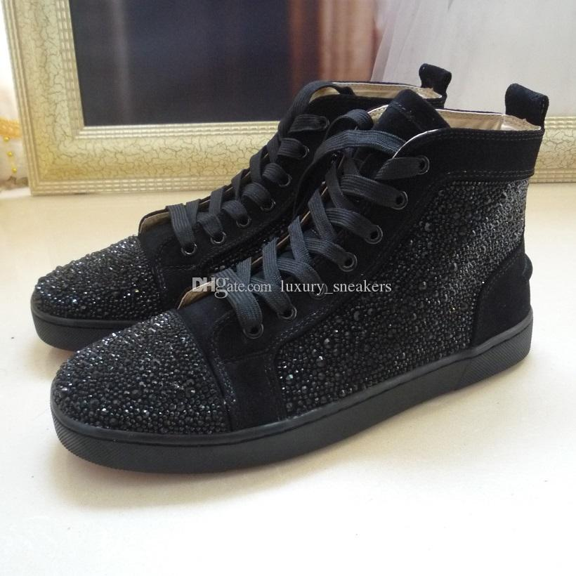 Designer New Men Women S Red Bottom Shoes Suede Black Rhinestone Strass Flats High Top Sneaker Luxury Lace Up Dress Shoes