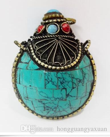 Old Tibet Silver snuff bottle Howlite Green Blue Turquoise HANDWORK CARVED 35MM