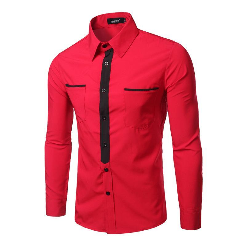 e8901cd953d Venta al por mayor- Camisa de hombre rojo casual Patchwork Tie Camisas de  vestir masculinas Camisa de manga larga Cuello redondo Camisa Slim Fit  Hombres ...
