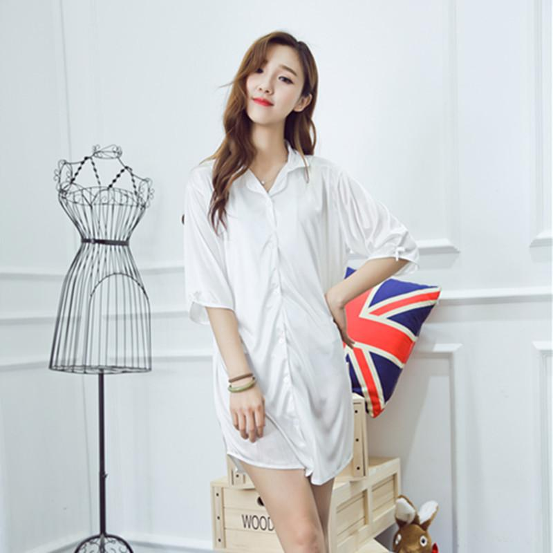 Wholesale- Women Sleep Shirt White Cardigan Sexy Satin Sleepwear ... 88aa003a5