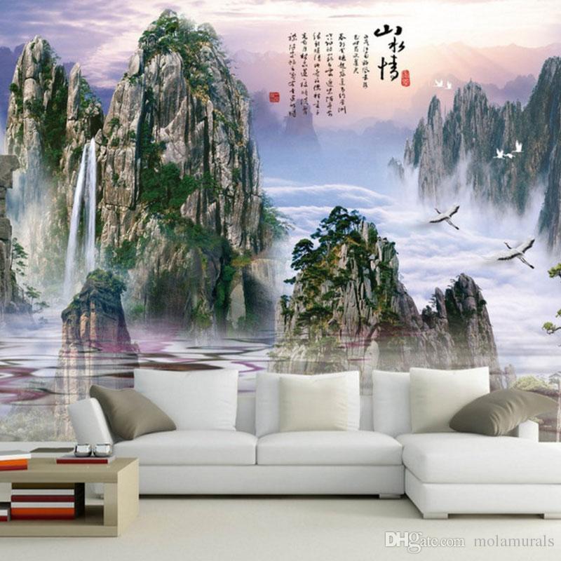 murale personalizzato foto murali murali Bella TV sfondo cedro decorazione della casa soggiorno studio in stile cinese
