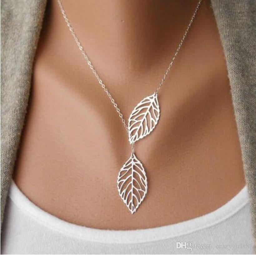 2017 New Designer Women Fashion Gold Silver Plated Simple 2 Leaves Choker Necklace Collar Statement Necklace Women Jewelry