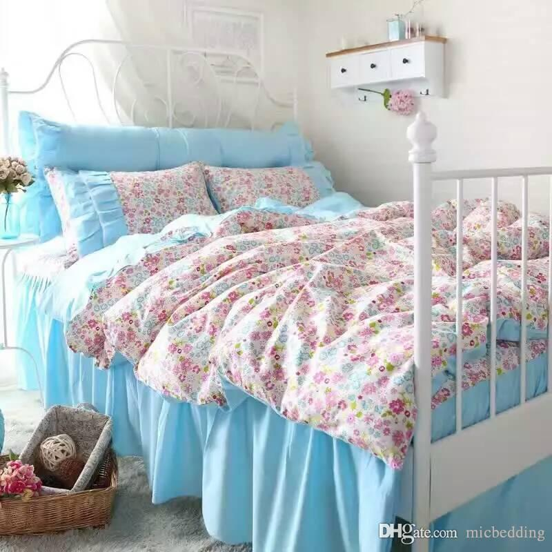 sweek garden bedskirt bedding set ,four piecse set,cotton fabric with reactive printing blue and white color 1.2m to 2.0m bed suitable