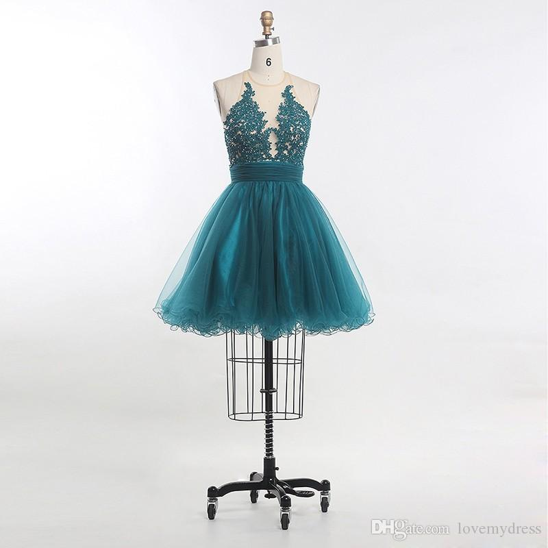 Sexy Teal Lace Short Cheap Graduation Dresses See Through Sequined 2018 New Arrival Zipper Back Mini Short Prom Homecoming Dress Gowns
