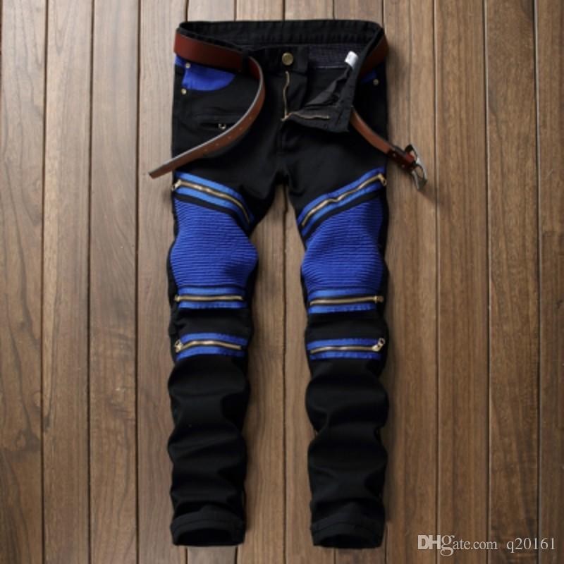 Maschio Brand Jeans Neue Ankunft Marke Desgin Zipper impunture decorative Jeans Modalità Slim Fit Stretch denim strappati Maschio Jeans