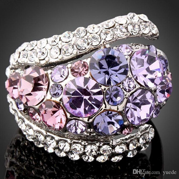 Gioielli moda nuovo 925 argento Coppia anello cuore Fit Pandora cristallo femminile da anelli Swarovski