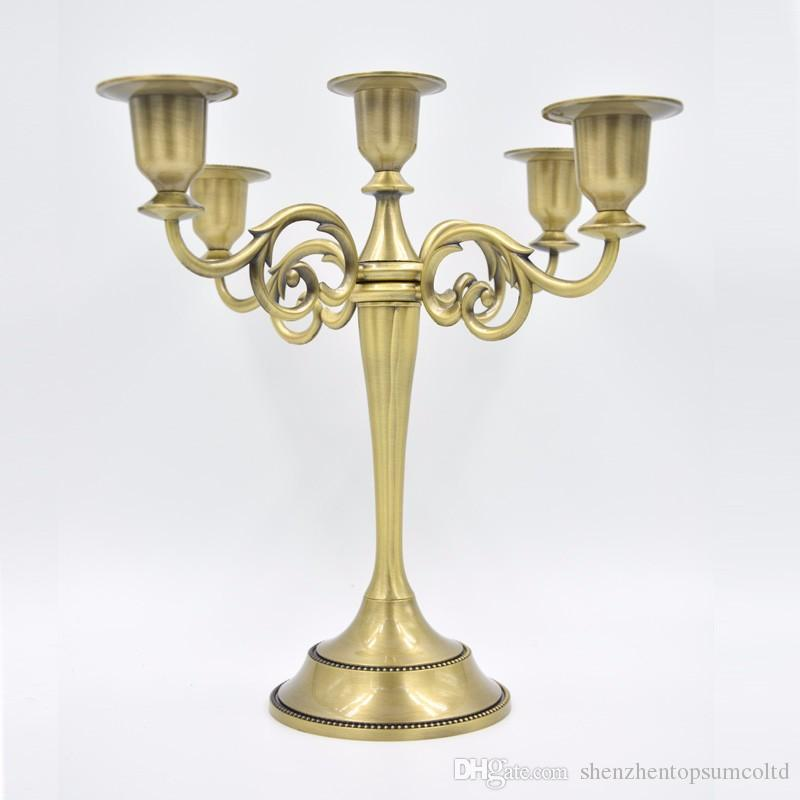 Wholesale Silver/Gold/Bronze/Black 5 Branch Metal Candle Holder Candlestand Home Decoration Wedding Event Candelabra CandleStick