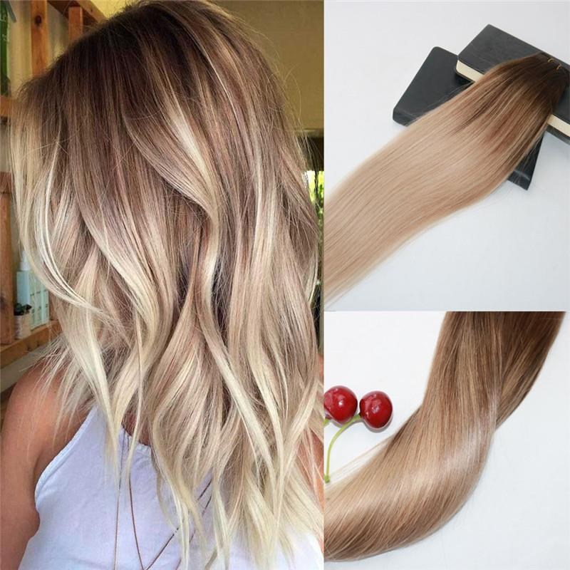 Factory Wholesale Omber Hair Extensions Balayage Color 4 Fading To