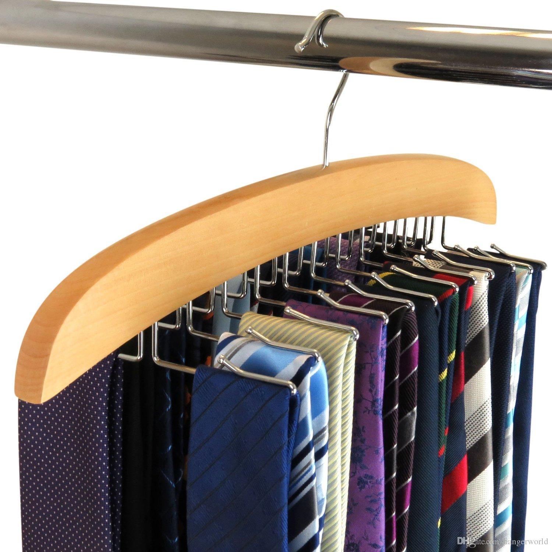 2018 Wooden Tie Hanger Organizer Premium Solid Natural Wood, Perfect ...