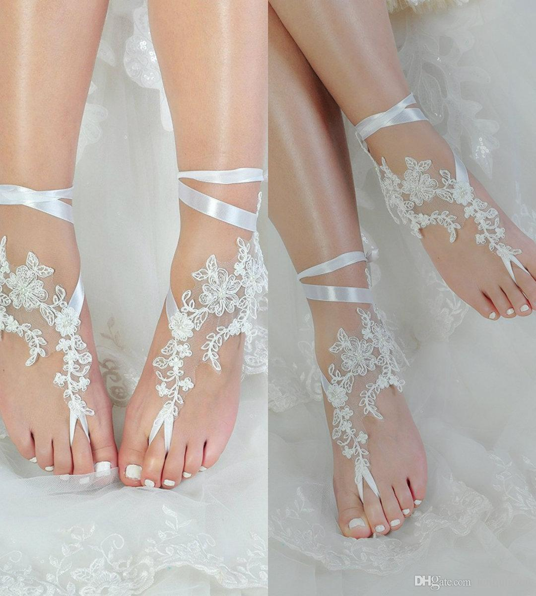 c43ffcf4a7c12 Gorgeous Ribbon Beach Wedding Shoes Delicate Beads Open Toe Ankle Strap  Flat Bridal Shoe For Summer Wedge Shoe White Bridal Shoes From Huifangzou