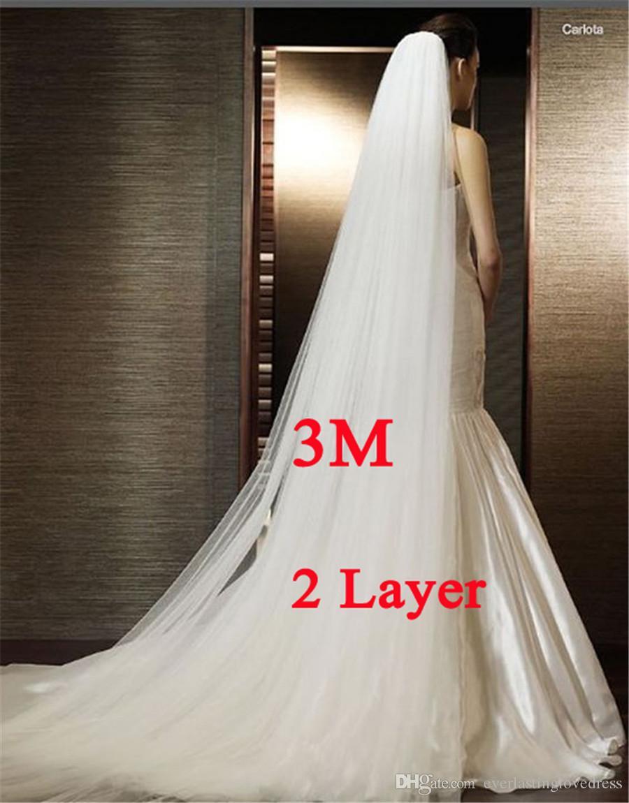 Weiß / Elfenbein 3M Brautschleier Zweischichtiger langer Brautschleier Kopfschleier mit Kamm Hochzeitsaccessoires Mode