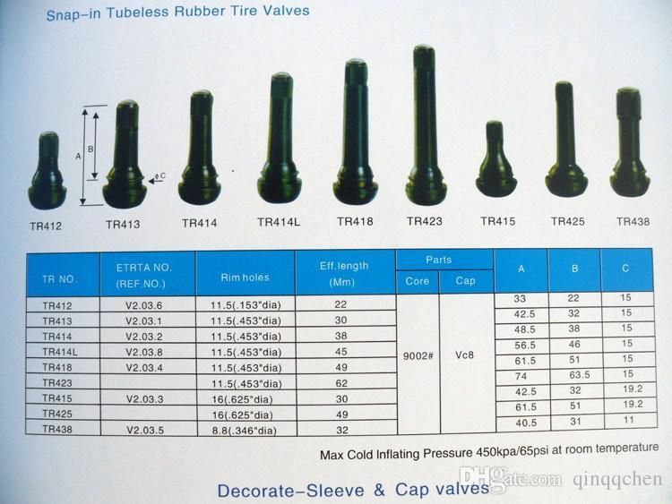 100 UNIDS / LOTE TR413 Válvulas de Válvula de Coche de Latón Llanta de Stem Llanta de Neumático Auto Tubeless Corto Accesorio de Rueda de Goma