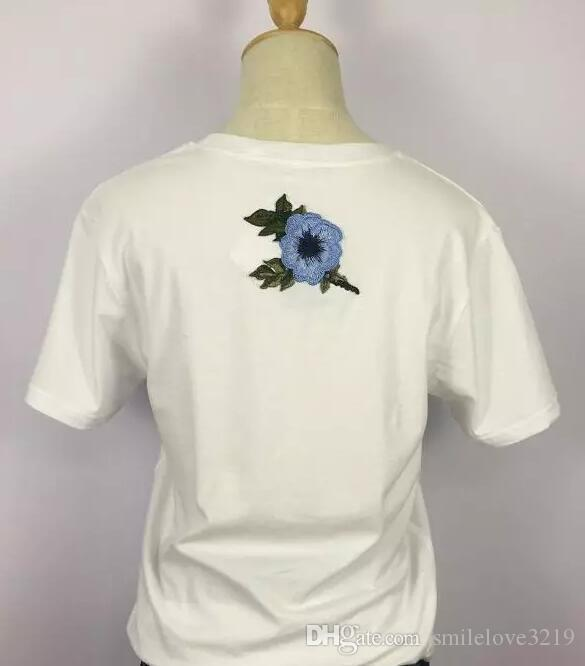 2017 New summer letters printed cotton loose G T-shirt round neck short-sleeved embroidery short sleeve tee shirt size S-XL