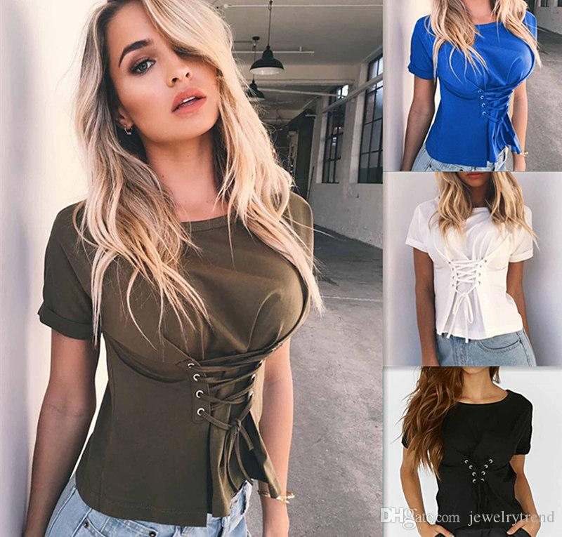 26528228d369 2017 Summer Women's Lace Up Corset T-shirt Lady's Short Sleeve Bandage Slim  Waist Tops Tee Casual Clothes C2968