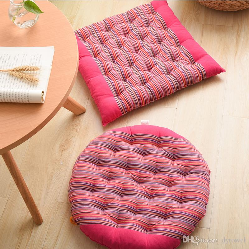 Striped Round Chair Cushion Mat Coarse Cloth Cand Color Seat Pads With Cord 40*40CM Home Car Sofa Office Tatami Seat Pillow