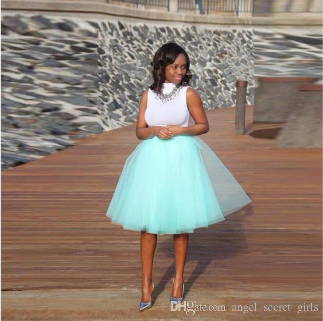 Mint Green Tutu Falda A Line Longitud de rodilla Estilo de moda Capas Falda de tul Faldas ocasionales de las mujeres de alta calidad personalizada
