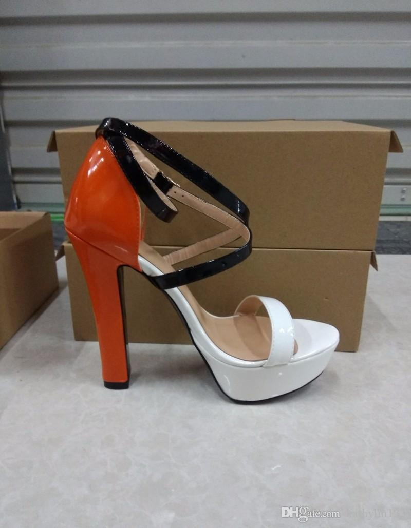 6b98926513ba 2018 New Classic Paris Fashion Platform Women Shoes Sex Orange Party Shoes  Ankle Wrap Super High Heels Wedding Shoes Nude Wedges Bridal Shoes From ...