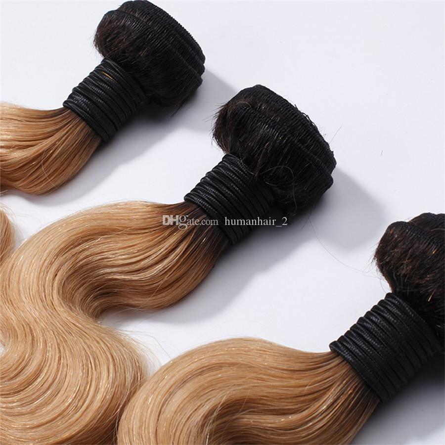 # 1B 27 Bal Sarışın Ombre Brezilyalı Bakire Vücut Dalga İnsan Saç Dokuma Paketler Koyu Kökleri Açık Kahverengi Ombre 13x4 Dantel Frontal Kapatma