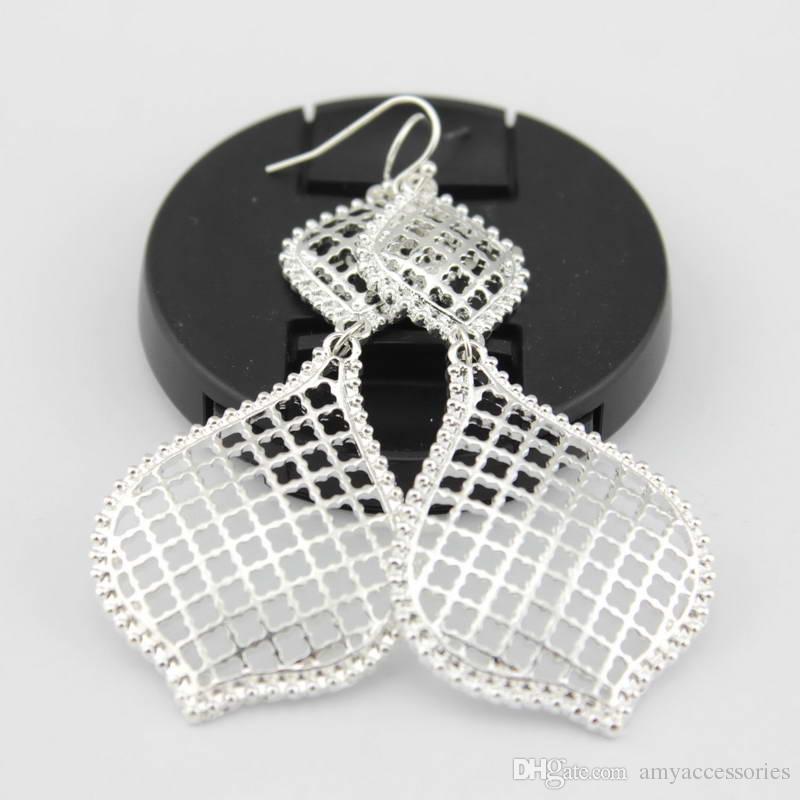 Christmas Gift Gold Openwork Drop Earrings for Women Costume Jewelry Cutout Hollow Teardrop Dangle Earrings