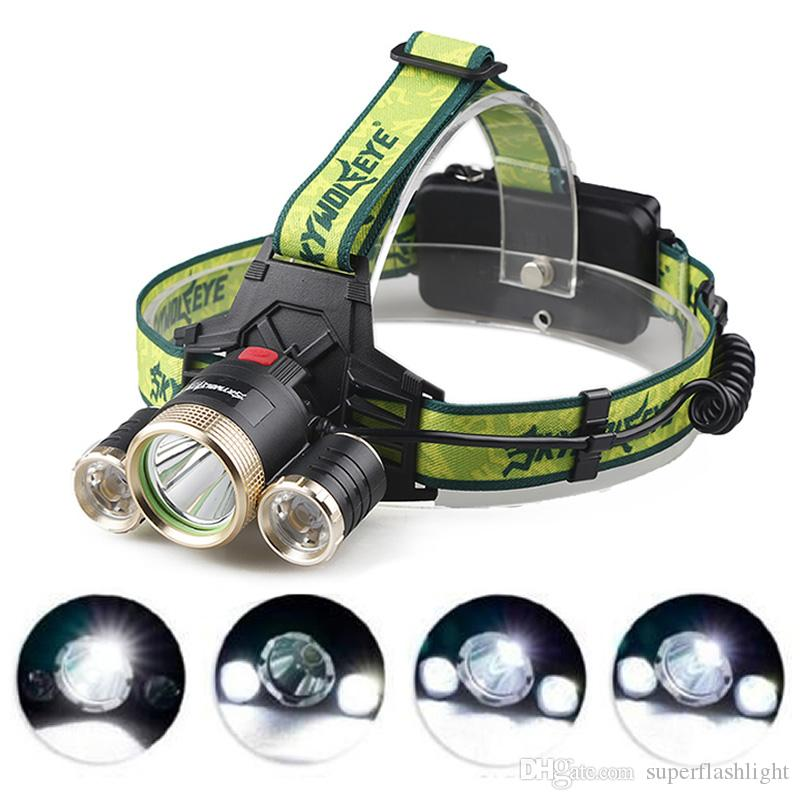 SKYWOLFEYE F526 Lampe frontale 9000Lm XML T6 + 2x XPE 3 LED 18650 Lampe frontale rechargeable Lampe torche LHL_10I
