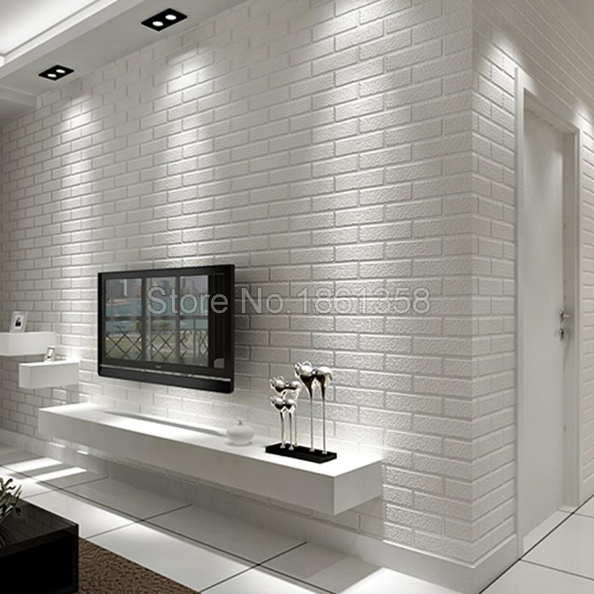 Wholesale brick stone pattern white 3d wallpaper roll for Wall coverings for living room