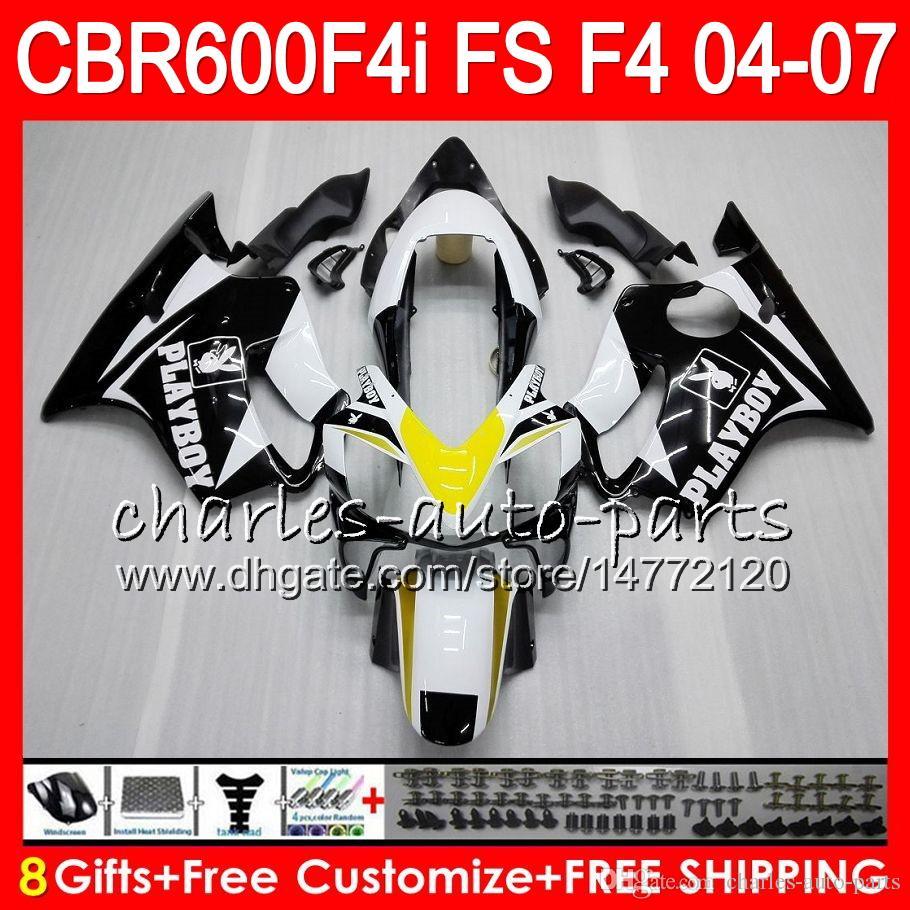 8Gift For HONDA CBR 600 F4i CBR600F4i 04 05 06 07 46HM19 CBR600FS FS CBR600 F4i CBR 600F4i 2004 2005 2006 2007 PLAYBOY Black Fairing