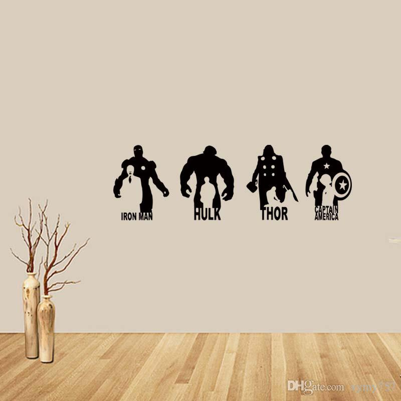 Removable Wall Art for marvel avengers iron man hulk thor captain america vinyl