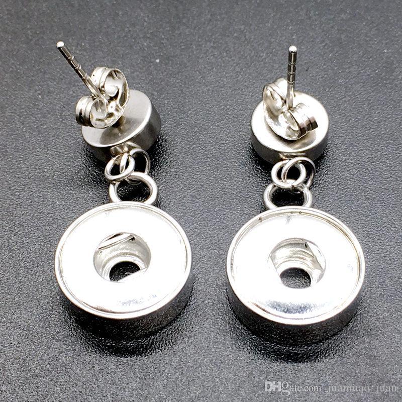 Горячие продажи женщин мода из нержавеющей стали Кристалл защелками серьги ювелирные изделия взаимозаменяемые 12 мм Fit Ginge защелками Шарм кнопка