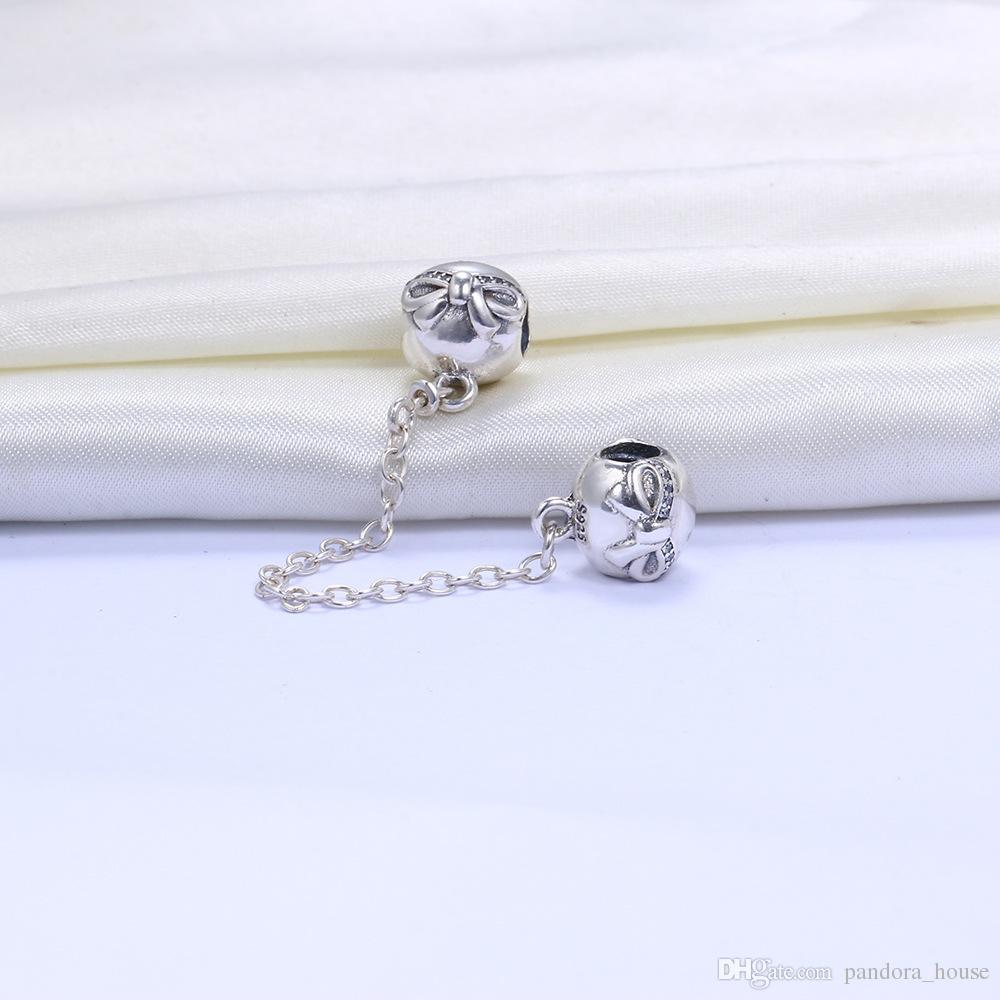 Wholesale 925 Sterlingsilber-Charme-Herz Sicherheitskette Europäischer Schwimmdock Charms Silber Beads für Pandora Schlange-Kettenarmband DIY Schmuck