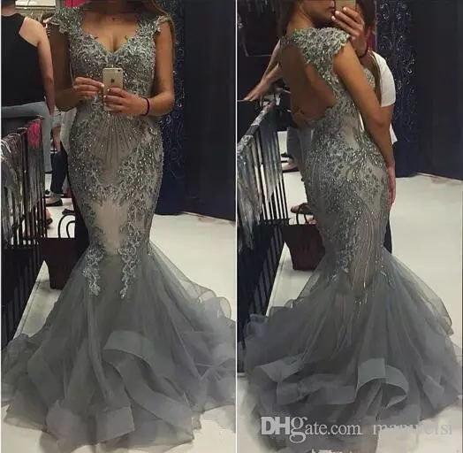Luxo Prata Sereia Vestidos de Cristal Desgaste da Noite Oco de Volta Lace Appliqued Beads Trompete Prom Vestidos Custom Made Formal Pageant Vestido