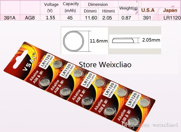 40 قطع 1 وحدة AG8 LR1120 LR55 191 381 391 391A SR1120 L1121 1.55 فولت بطاريات القلوية زر خلية البطارية عملة vsai مجانية