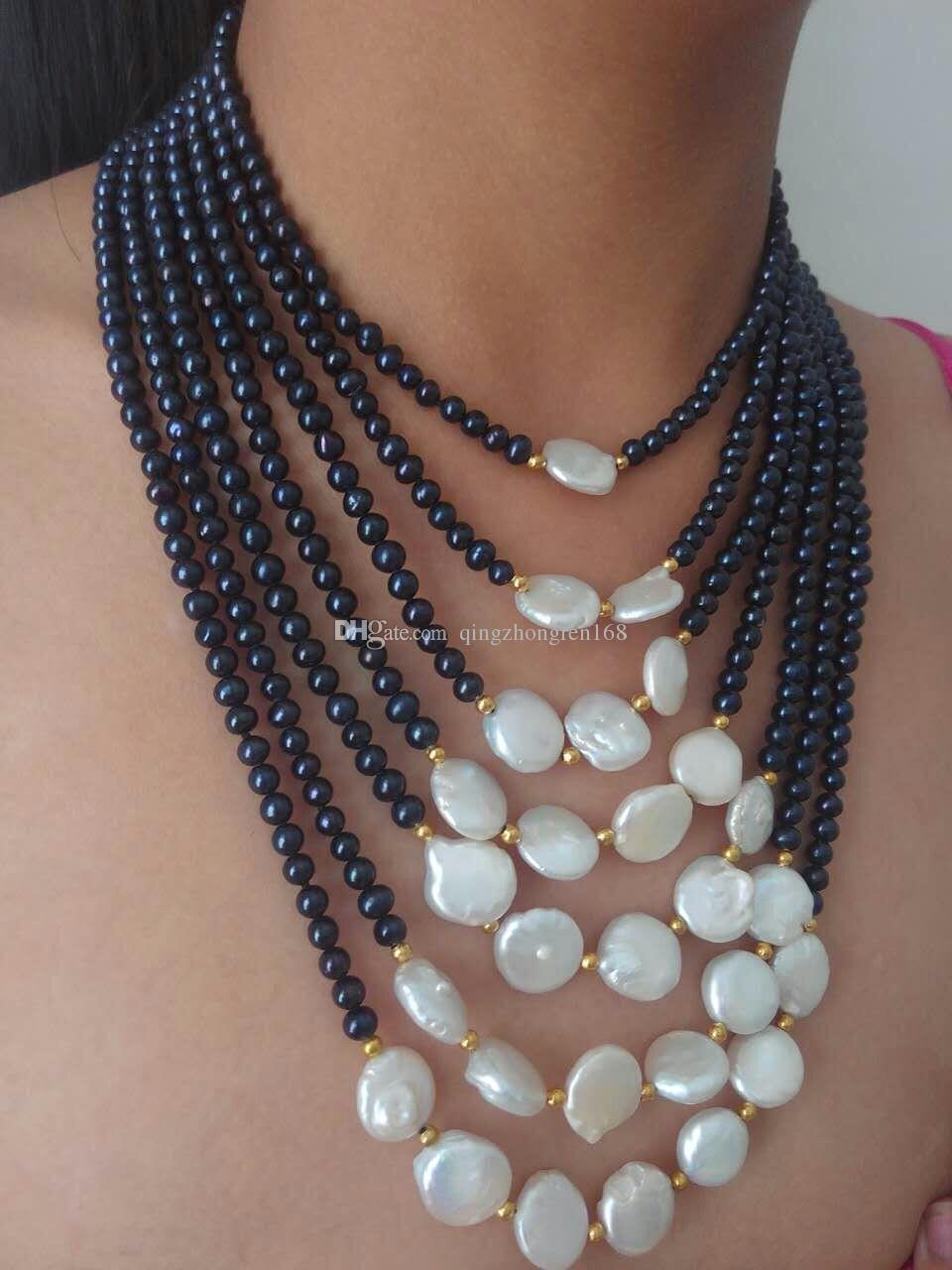 necklaces jewelry necklace handmade allaia with product black fashion by pearls