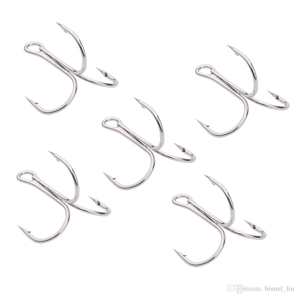 10#-3/0# White Nickel Triple Anchor Hook High Carbon Steel Barbed Hooks Fishing Hooks Fishhooks Pesca Carp Fishing Tackle Accessories