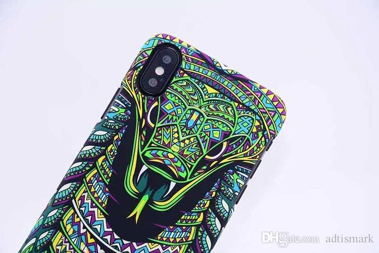 Brand Animals Lion Wolf Owl Pattern Hard Back Phone Case For iPhone X Glow In The Dark Luminous Forest King Case