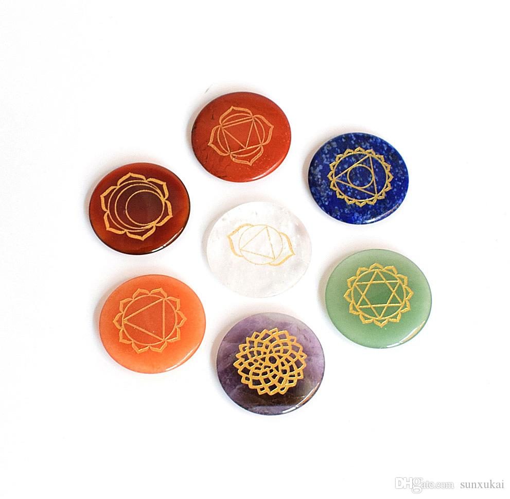 Set of 7 Pieces Ultrathin Natural Chakra Stones Engraved Chakra Symbols Healing Crystal Round Palm Stones with a Free Pouch