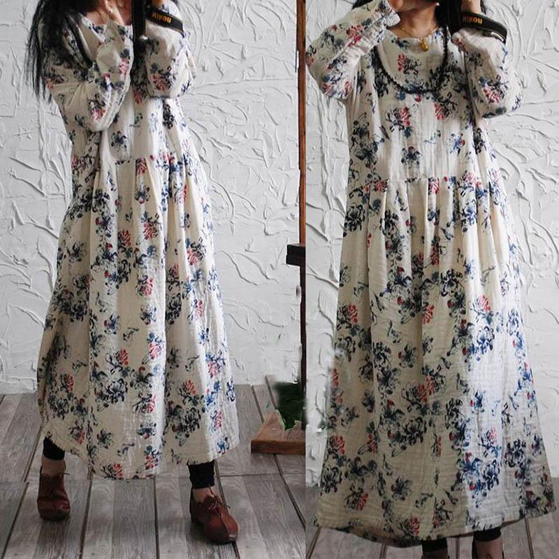 2019 Wholesale SERENELY 2016 Spring And Autumn Women Dress Vintage Print Long  Sleeve Plus Size Maxi Long Loose Cotton Linen Dress Vestidos S172 From  Erzhang ... 46ae5def2aad