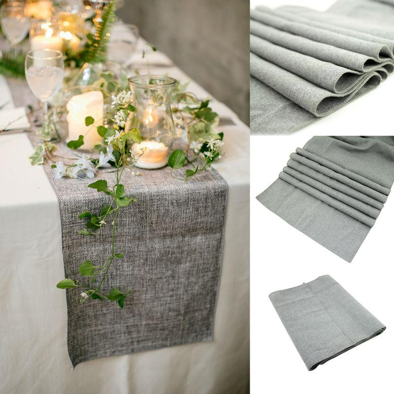 30x275cm Gray Burlap Table Runner Natural Jute Imitated Linen Rustic Decor  Wedding Hessian Tablecloth Party L1 Gift Cheap Free Shipping Online With ...