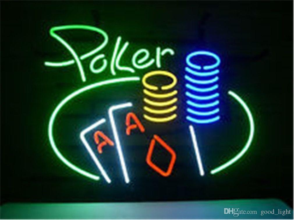 "17""x14"" Poker Gameroom Cars Man Real Neon Light Sign Display Beer Bar Pub Club"