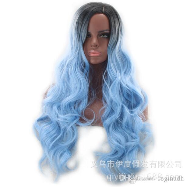 Meerjungfrau Pastell Regenbogen Haar Perücke Synthetische Regenbogen Farbe Pink Lila Blau Fluoreszierend Grün Ombre Haar Lace Front Perücke