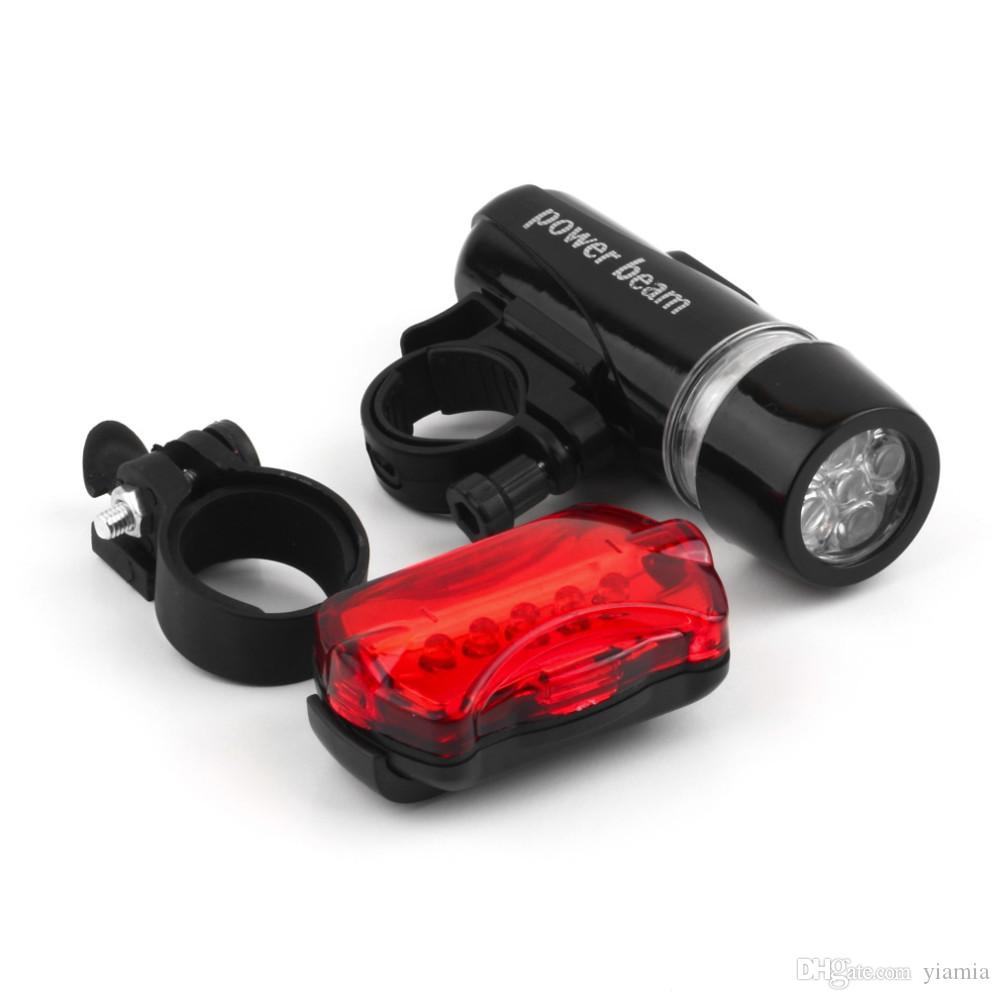 Waterproof Bike Bicycle Lights 5 LEDs Bike Bicycle Front Head Light + Safety Rear Flashlight Torch Lamp headlight accessory