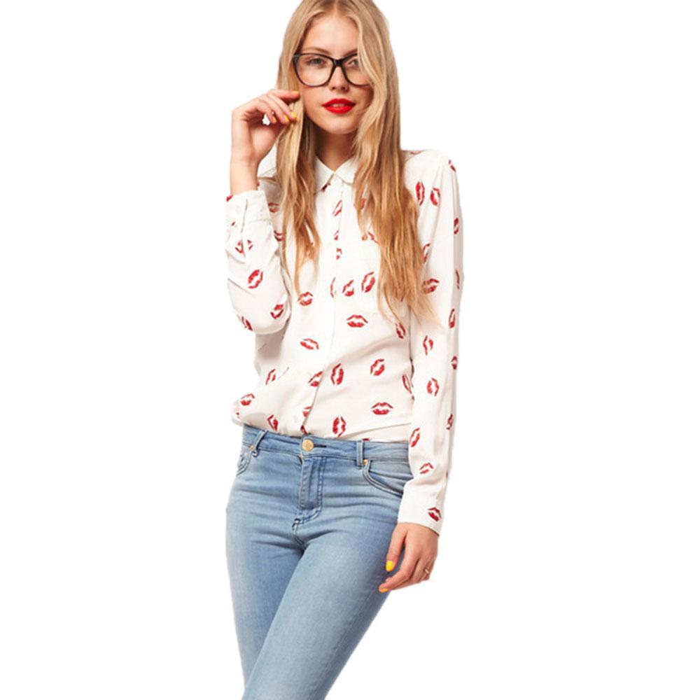 2017 2017 Spring Women Kisses Red Lip Clothing Shirts Kiss Red Lip ...