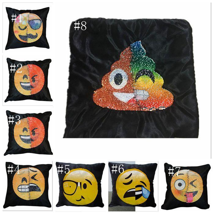 Emoji Kissenbezug Pailletten Kissenbezug Weichen Autositz Kreative Emoji Wrap Kissen Kissenbezug Variable Farbe Gesicht Kissenbezug 40 * 40 cm ldh01
