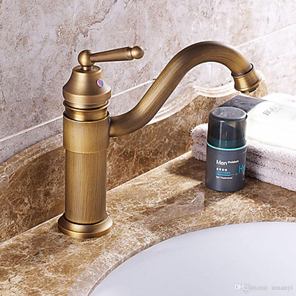 Wholesale Retail Bathroom Basin Faucets Antique Brass Brushed Bronze Single Lever Handle Deck Mount Hot Cold Mixer Toilet Sink Taps ABMPL038
