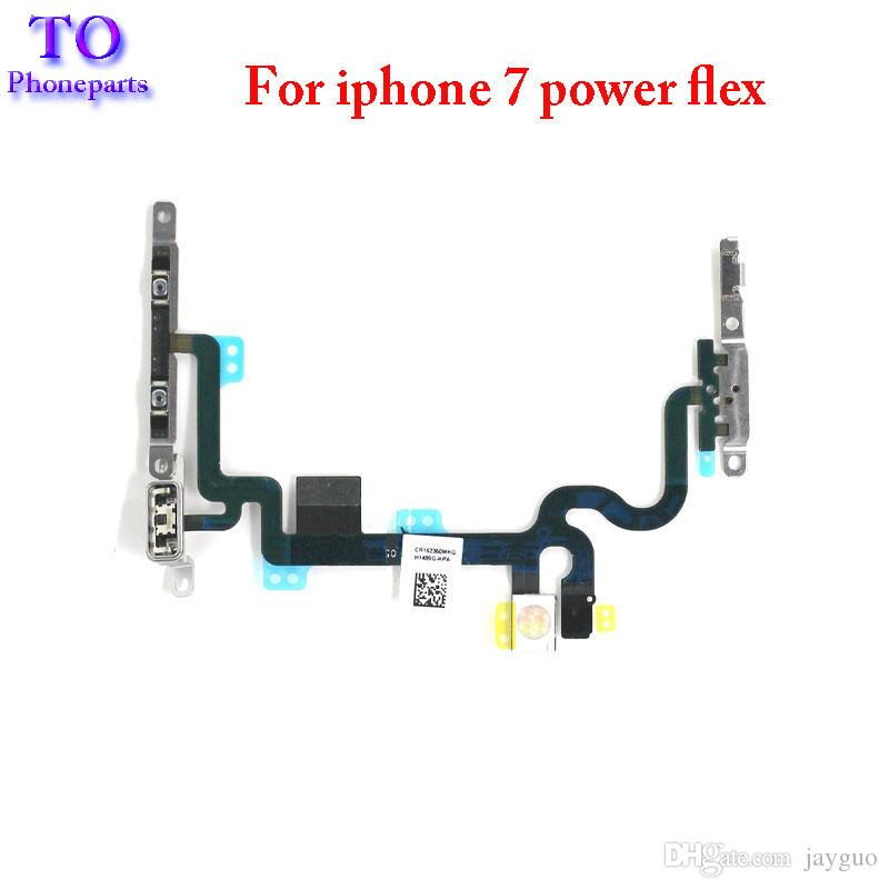 New Power Volume Button Flex Cable With Metal Bracket For iPhone 7 7 Plus Replacement Parts