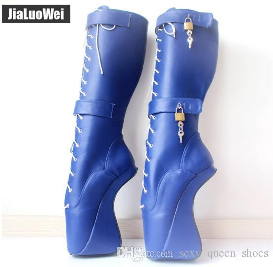 0eb35a5b4d3 Free Shipping 2018 NEW 18cm/7 Ultra High Hoof Heels Lockable Padlocks  Fetish Sexy Pinup Lace Cross-tied Knee-High Ballet Boots for Women