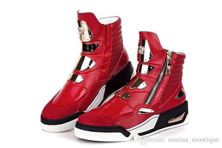 Nuevos 2017 zapatos de moda las zapatillas de deporte de los hombres del cuero genuino Tamaño Negro rojo para hombre del tobillo botines Hombre Zapatos Masculino Plus Euro 46 Calzado deportivo
