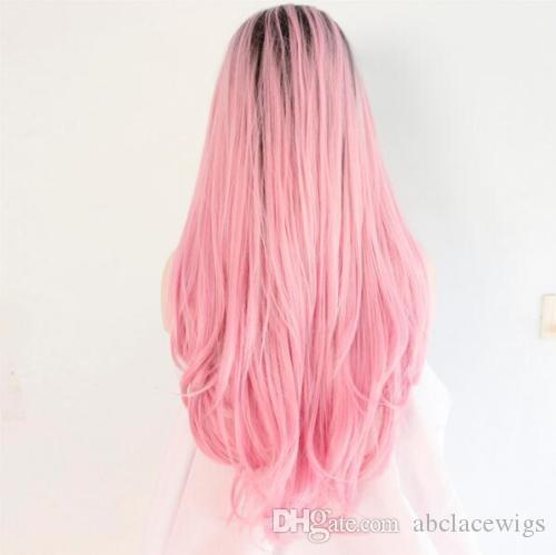 Ombre Wig Fashion Baby Pink Synthetic Weave Lace Front Wigs for Party Heat Resistant Handmade Long Wavy Synthetic Lace Wigs