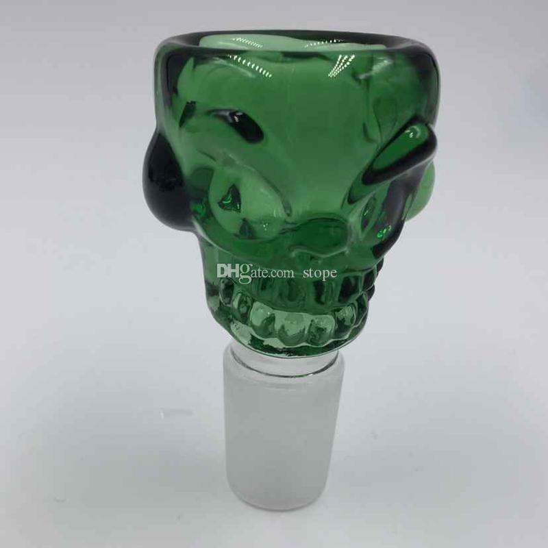 Venta caliente 18 mm forma de cráneo colorido recipiente de vidrio para fumar pipa Bong Mini Oil Rig Percoladores Bubbler envío gratis
