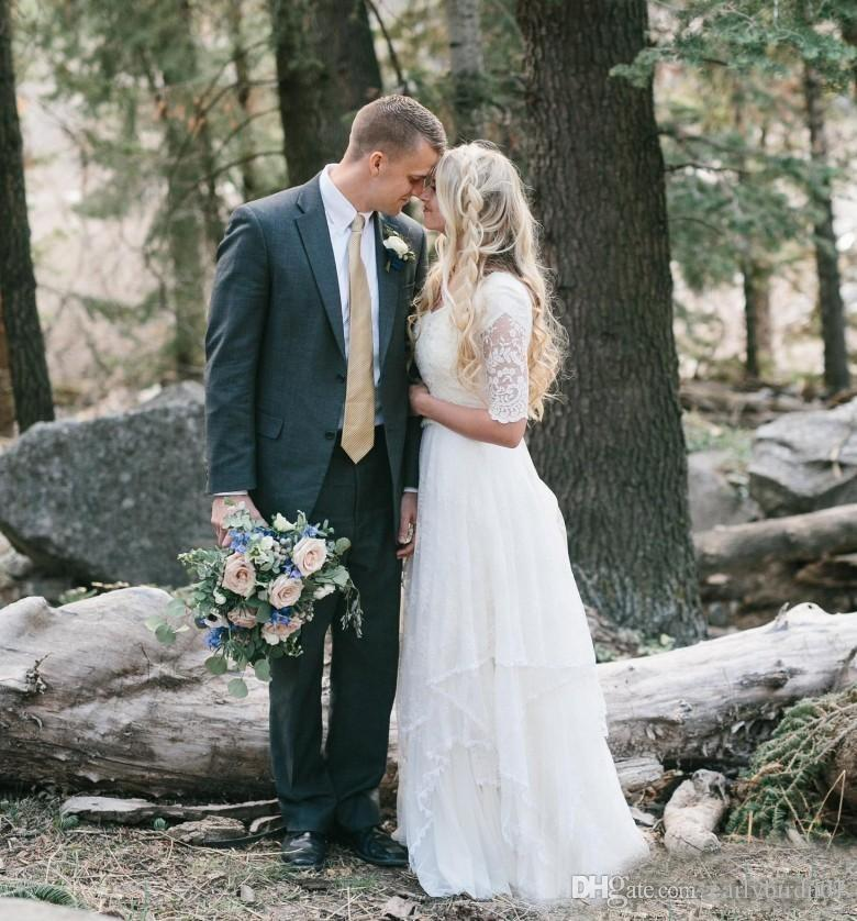 2018 Western Country Bohemian Forest Wedding Dresses Lace Chiffon Modest V Neck Half Sleeves Long Bridal Gowns Plus Size Dress for Wedding